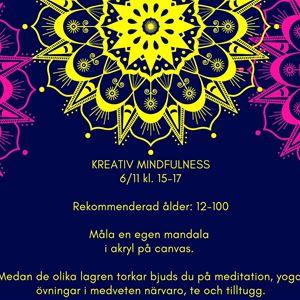 Affisch, kreativ mindfulnes, mörklila bakgrund, mandalas i rosa och gult, informationstext om evenemanget.