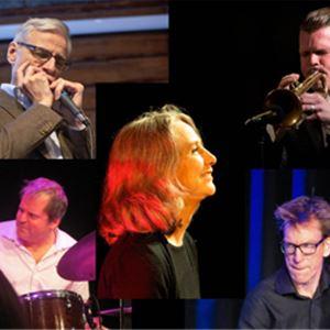 Ett bildkollage med fem bilder, en kvinna i svart kavaj i mitten, bilder på fyra män runtomkring henne alla med olika instrument.