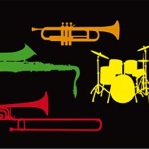 Svart bakgrund, tecknade instrument i olika färger.