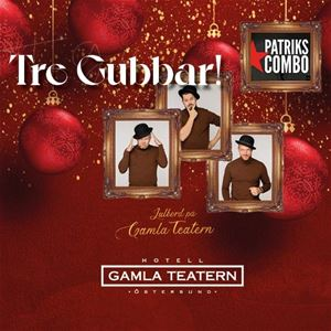 © copy: https://www.facebook.com/gamlateatern, Tre tavlor med tre gubbar och julkulor i bakgrunden