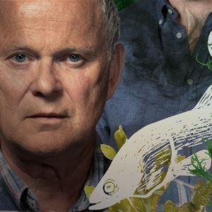 Man i en blå skjorta och tecknade vattenväxter, en vit tecknad ål och små vita tecknade fiskar.