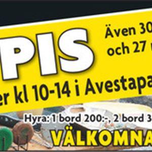 © Annonsbladet, Affisch på loppis i Avestaparken.