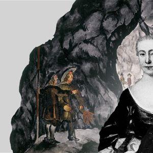 © Arkivcentrum Dalarna, Carl von Linné och hans hustru Sara Elisabeth Moraea, gruvan och två arbetare i bakgrunden.