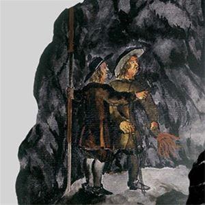 En teckning föreställande två män i tidstypisk klädsel, en bergvägg i bakgrunden.