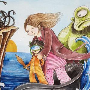 © Anna Komstadius, En tecknad bild, en kvinna och en flicka står upp i en farkost som åker på vågorna, i vattnet en grön figur med långt hår, i bakgrunden ett enögt grönt monster.