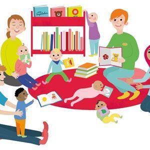 Tecknad bild på diverse människor och barn som läser
