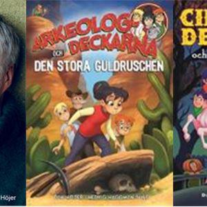 Tre bilder, den vänstra på en leende man med grön stickad polotröja, den i mitten på en bok arkeolog deckarna, den högra också en bok Cirkus deckarna.
