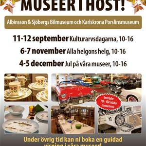 Extra open at Albinson & Sjöbergs Car Museum and Karlskrona Porcelain Museum