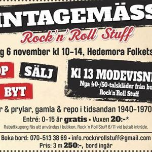 © annonsbladet, Affisch Vintagemässa, ljus bakgrund, information om mässan i svart vitt och rött.