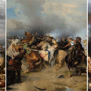 © Copy: Jamtli, målning av stridande människor och hästar