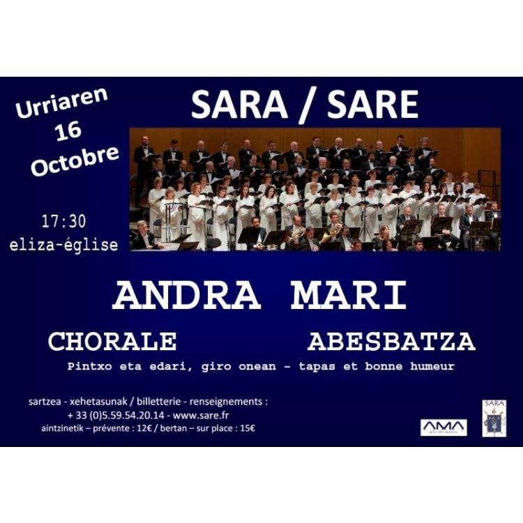 Concert Chorale Andra Mari le samedi 16 octobre à Sare