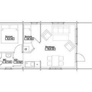 Ansia resort - Stuga PAR (4 bäddar, 2 sovrum, 37m², WC/dusch)