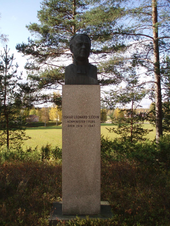 Minnessten av prästen Oskar Leonard Sjödin