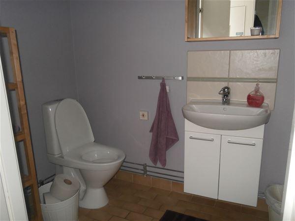 Toalett och handfat.