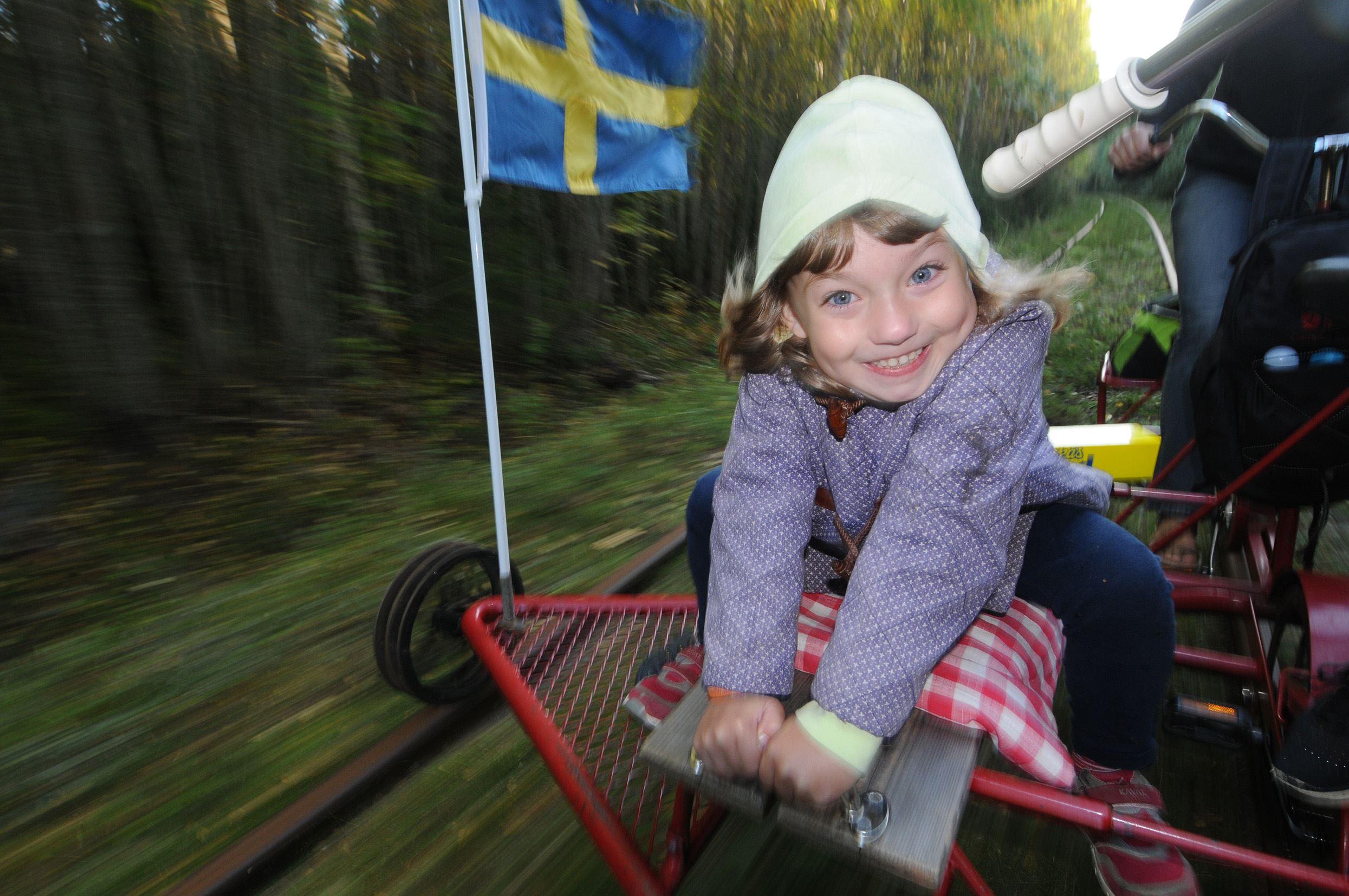 Rail trolley riding on Dellenbanan (the Dellen railroad)