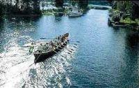 Church boat rowing on Dellen