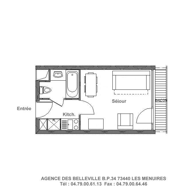 Studio 3 Pers skis aux pieds / CHAVIERE 734