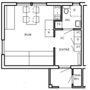 Stuga (5+1 bäddar, 32 m², WC/dusch, Nr 06)