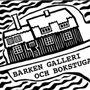Tecknad logotyp för Barken Galleri och bokstuga.