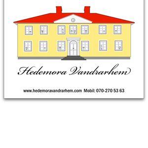 Hedemora vandrarhems logga med en gul byggnad.