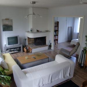 Vardagsrum med soffa, teve och en öppen spis.