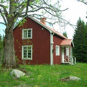 Rödmålad stuga med en dam ute i trädgården.