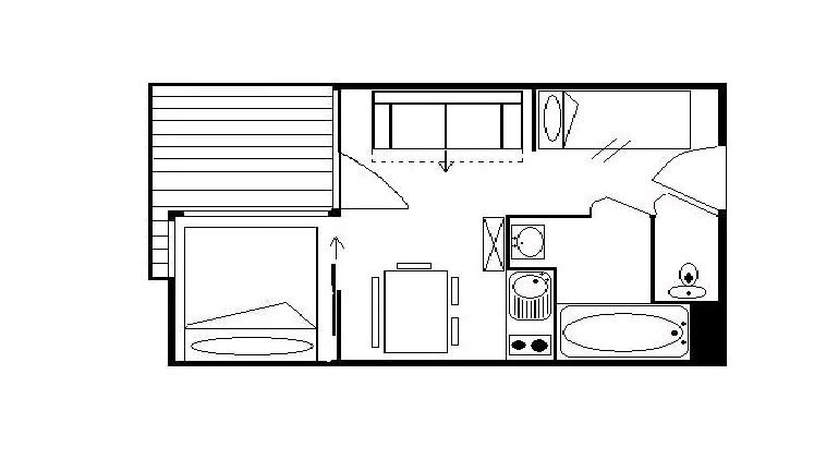 4 Pers Studio + cabin ski-in ski-out / SKI SOLEIL 1204