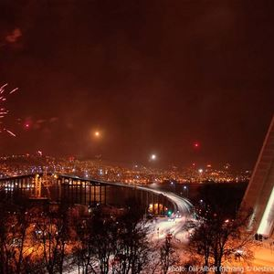 © Ishavskatedralen, The Arctic Cathedral on New Years Eve, view from Tromsdalen