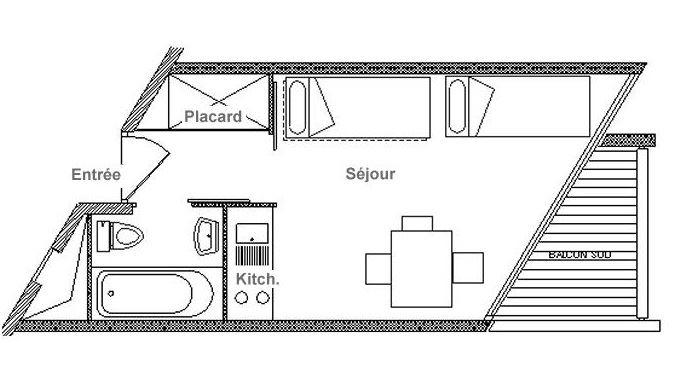 Studio 3 Pers skis aux pieds / GRANDE MASSE 609