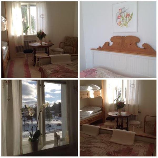 Collage från rummen med fåtölj och litet bord, sänggavel med snickarglädje, utsikt genom ett fönster samt vy över ett rum med våningssäng, dubbelsäng, bord och pallar.