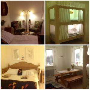 Collage från rummen. Fåtöljer, våningssäng med snickarglädje, dubbelsäng i omgjord träsoffa, matbord med bänkar.