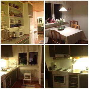 Collage på köket med skåp, micro, spis och matbord med stolar.