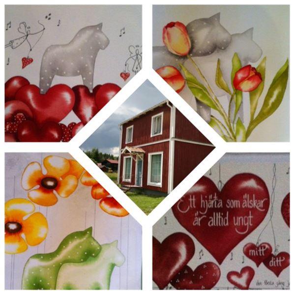 Collage på målade hästar och exteriörbild på Bromangard.