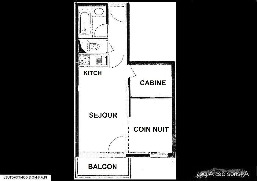 Studio cabine skis aux pieds / VILLARET 322