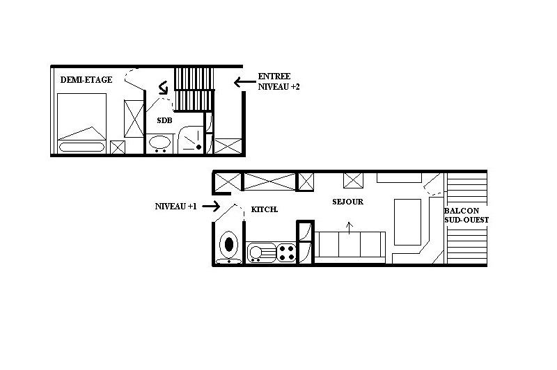 2 Rooms 4 Pers ski-in ski-out / LES LAUZES E8