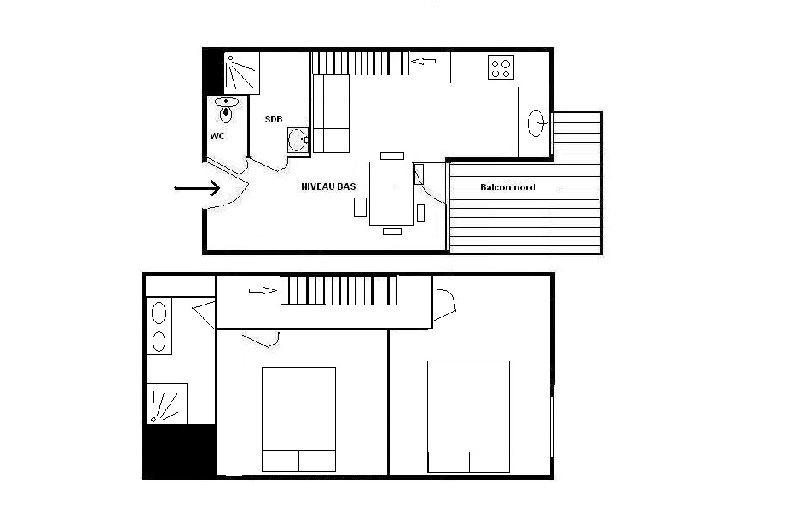 3 Rooms 4 Pers ski-in ski-out / SKI SOLEIL 1705