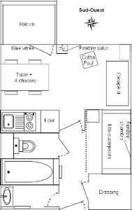 Studio cabine 4 Pers skis aux pieds / GENTIANES 422