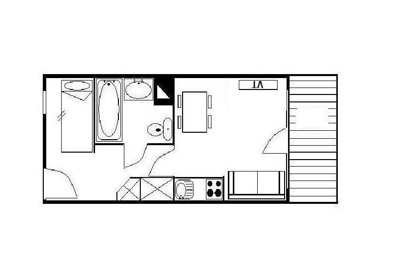 Studio 4 Pers skis aux pieds / NECOU 519