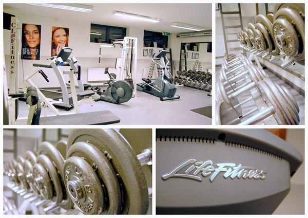 Collage av detaljer från gymmet.