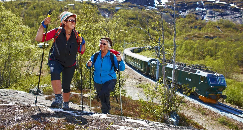 The Flåm Railway and hiking or biking the Flåm valley