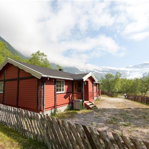 Cabins by the Svartisen glacier