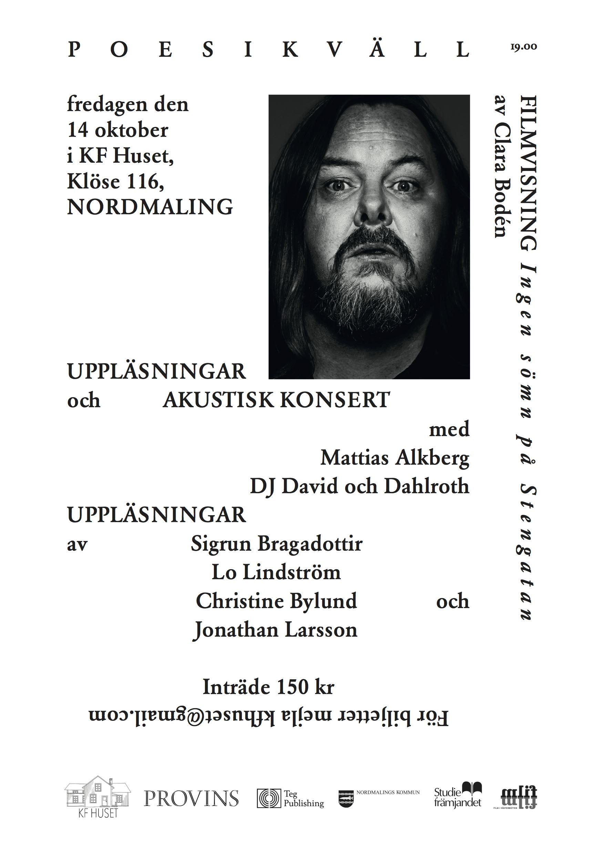 Poesikväll i KF Huset Med Mattias Alkberg Med Flera!