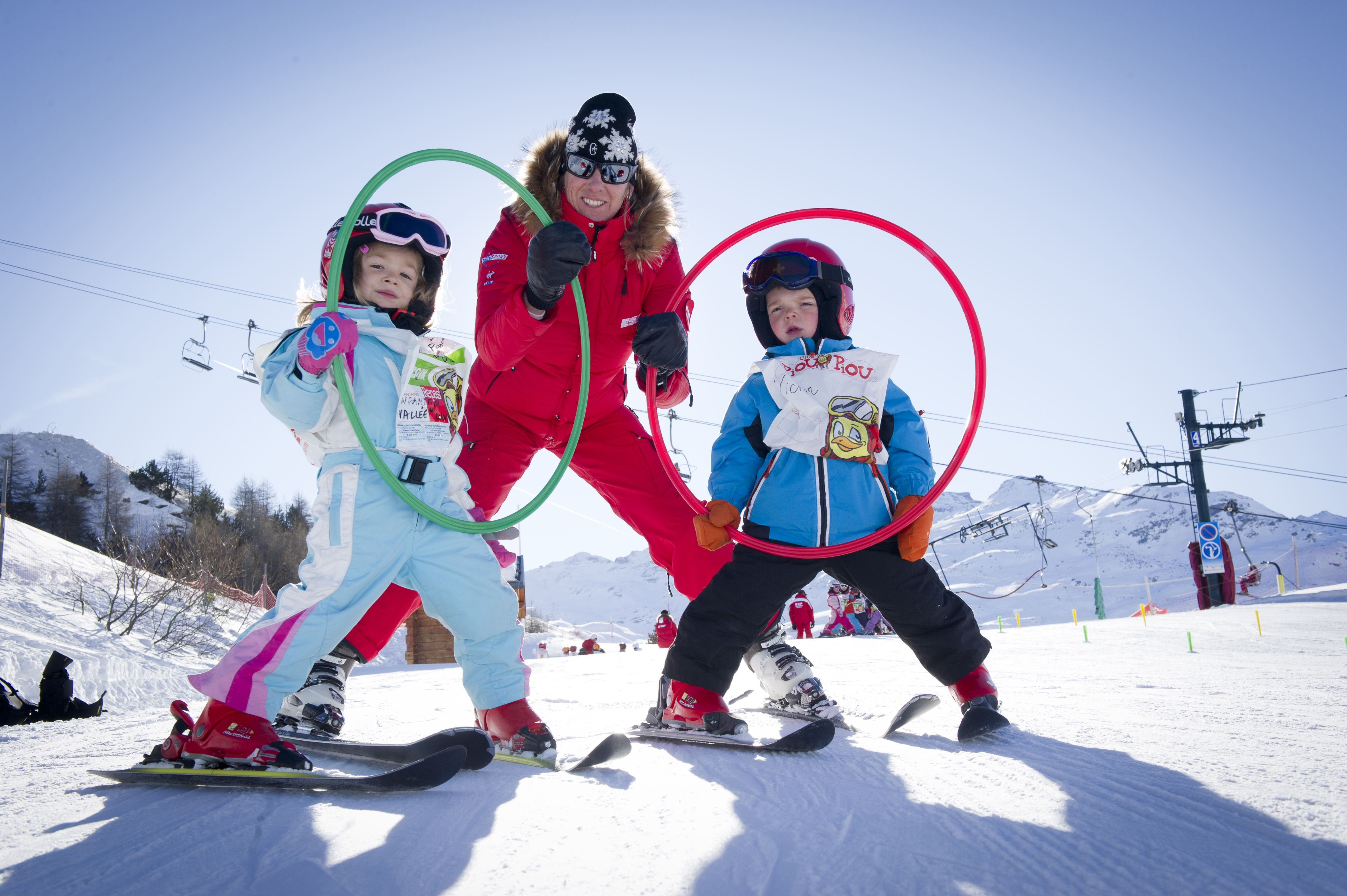 Group ski lessons 6 mornings, Piou Piou Village, 4 to 5 years (unavailable in Saint Martin de Belleville), beginner till snowflake level