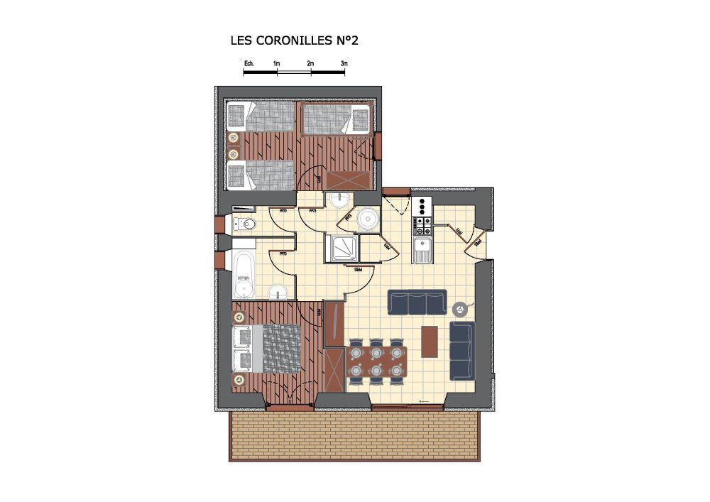 3 rooms 6 Pers 200m from slopes / Coronilles 2