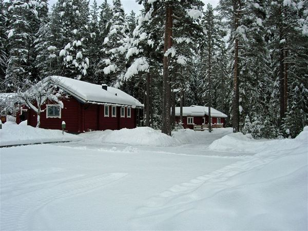 Stugorna täckta i snö.