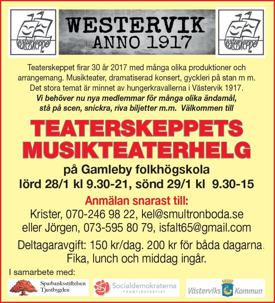 Teaterskeppets musikteaterhelg på Gamleby Folkhögskola