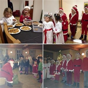 Children dressed as Santas and Saint Lucy