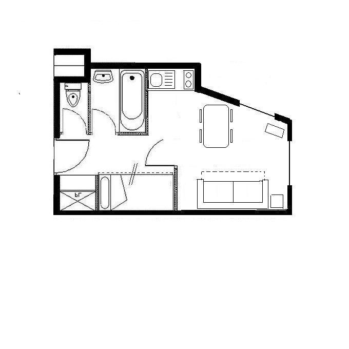 Studio cabine 4 Pers skis aux pieds / BOEDETTE 514
