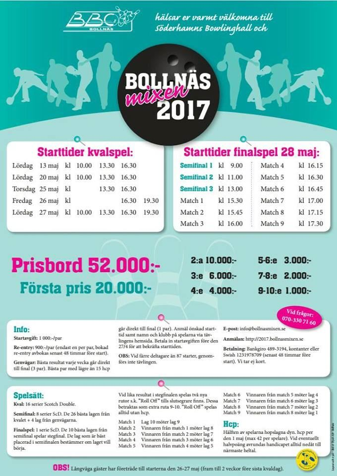 Vi välkomnar Bollnäs Mixen 2017 till Bowlinghall & Ungdomscafé i Söderhamn