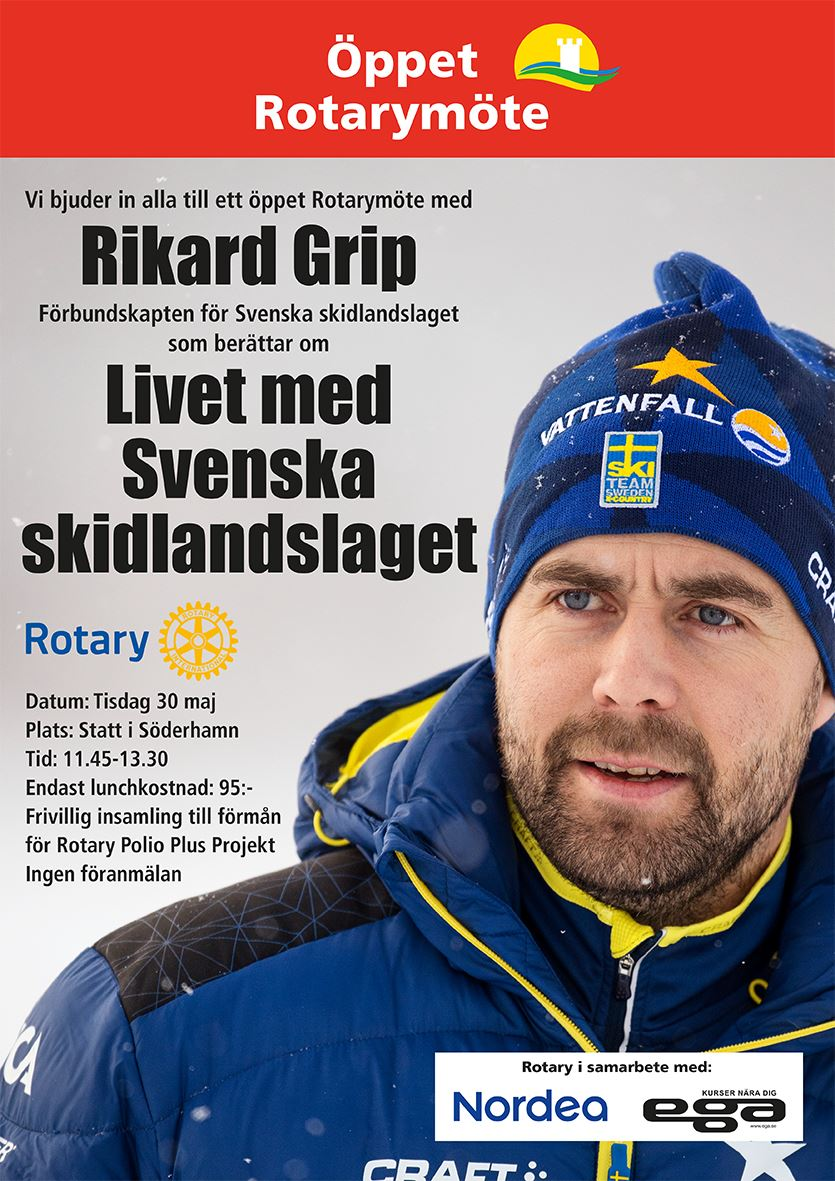 Öppet Rotarymöte med Rikard Grip, landslagschef längdskidor